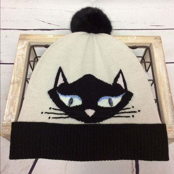 ff43ecc61 [Kate Spade] Cool Cat Beanie Hat, Black Pom Pom